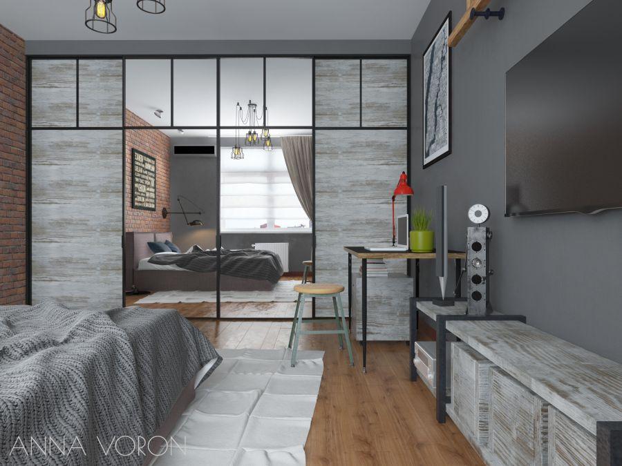 Фото - Дизайн спальни в стиле лофт
